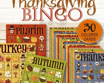 30 Thanksgiving Bingo Cards - INSTANT DOWNLOAD