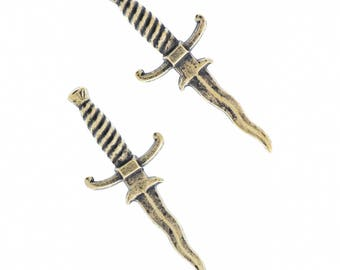 Dagger Charm 42mm , antique brass finish sold by 6 each 03118AG