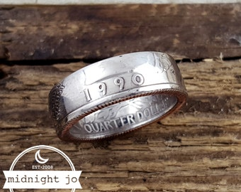 1990 Coin Ring Double Sided Custom Size Year Quarter MR0705-Tyr1990