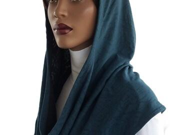 Koul SHôl™ Head Hoodie Dusk Teal Jersey Knit Cowl Hoodie Fully Lined Veil Devotional Head Hoodie Veil Hoodie Hijab Hoodie Handmade