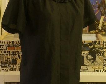 vintage black blouse frill ascot collar secretary shirt 1980s 80s