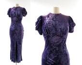 1930s Velvet Dress | Purple Velvet Dress | 1930s Gown | XS S