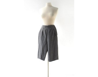 Vintage 50s Pants   Gray Wool Pedal Pushers   Capri Pants   24W XXS