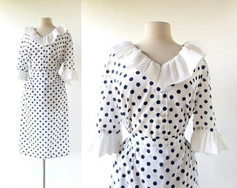 Polka Dot Blouse and Skirt | 1960s Dress | Two Piece Dress | L XL