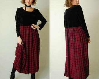 Plaid Grunge Dress Vintage Black + Red Velvet Plaid Empire Slouchy Grunge Maxi Dress (s m l)