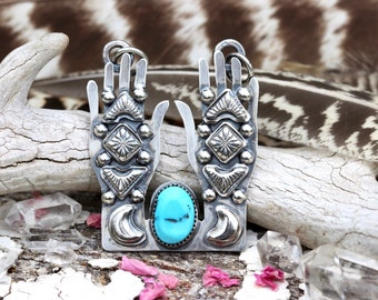 Turquoise Necklace Turquoise Jewelry Sterling Silver Necklace Witchy Jewelry Occult Necklace Wiccan Jewelry Egyptian Jewelry