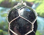 Nuummite Sterling Wire Art Pendant, Great Journeying Stone, Wish To Enhance Your Memory? e102