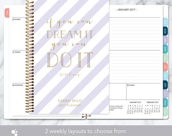 2018 planner | 2017-2018 calendar | weekly student planner add monthly tabs | personalized planner agenda | lavender gold stripes quote