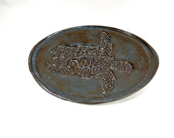 Turtle Dish Tortoise Lovers Soap Dish Catchall Trinket Holder Ceramic Pottery