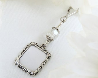 Wedding bouquet Photo charm with clear crystal for a bride's bouquet. Gift for a bride. Bridal bouquet charm. Wedding keepsake. Sister gift.