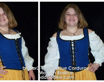 Odd Bodkin Maiden Bodice in Royal Blue Corduroy - Made to Order - blucor3