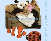 Simplicity 3955 Rag Quilt Throw or Wall Hanging, Panda Bear Lady Bug Clown Fish Blanket Robin Greenwood Sewing Pattern Great Gift Uncut FF