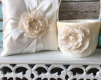 Flower girl basket / ring bearer pillow set - ivory flower girl basket, ivory ring bearer pillow