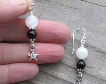 Moonstone Black Tourmaline Sterling Silver Star Healing Gemstone Earrings