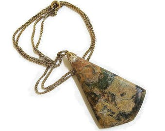 Moss Agate Pendant Necklace Vintage Triangular Black & Brown