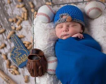 Baseball Hat Ball Cap Baby Newborn 3m Preemie Crochet backward  Photo Prop Clothes Boys Girls Gender Neutral Daddys Fathers Gift