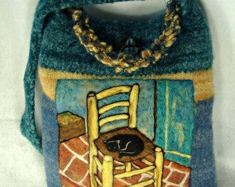 "Felted Purse, Felted Tote, Van Gogh painting, Van Gogh ""The Chair"", great masters, Art Purse"