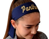 Design Your Own Sport TIE BACK Moisture Wicking Headband Customizable with Your Choice of Colors & GLITTER Text by Funny Girl Designs