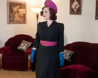 Vintage 1930s Dress - Elegant Black Rayon Crepe Late 30s Dress with Floral Detail and Peaked Shoulders