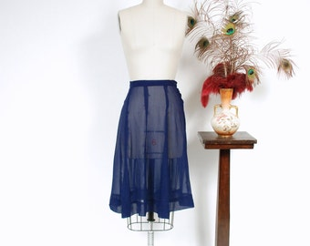 Vintage 1940s Skirt - Darling Ultra Sheer Silk Chiffon Gored 40s Skirt with Side Closure