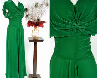 RESERVED ON LAYAWAY Vintage 1930s Dress - Elegant Kelly Green Velvet Low Backed Bias Cut 30s Gown with Draped Sleeves and Twist Front