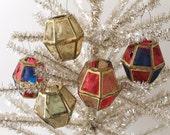 Antique Collapsible Christmas Lanterns, Celluloid Panel Lanterns, German Christmas Decorations, Vintage Christmas Decor, Lantern Set