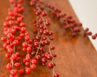 """Artificial Berries, 28"""" berry spray, Christmas berries, holiday berries, holiday berry, berries for wreaths, red berries, burgundy berries,"""