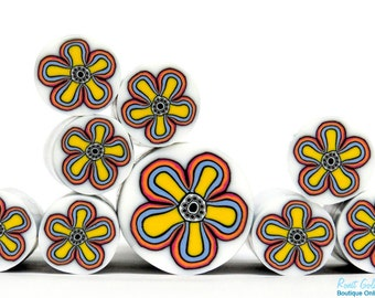 Yellow, Blue, Orange, Pink, Black & White Polymer clay millefiori geometric Flower cane, raw unbaked polymer clay Fimo cane by Ronit Golan