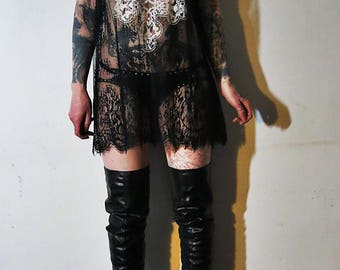 Hell Couture Kruzifixx Lace Mini Dress