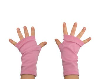 Kids Arm Warmers in Rose Pink - Fingerless Gloves