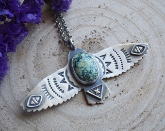 Natural Peacock Turquoise Bird Pendant Sterling Silver Handmade Jewelry