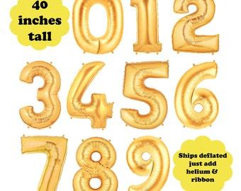 """40"""" Tall Gold Number Balloon - Choose Your Number - First Birthday Party Megaloon Gold Foil Mylar Balloon Birthday Age Photo Prop Decoration"""