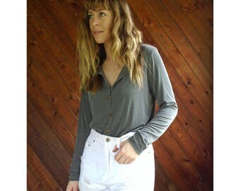 Slinky Grey l/s Button Down Shirt - Vintage 90s - S