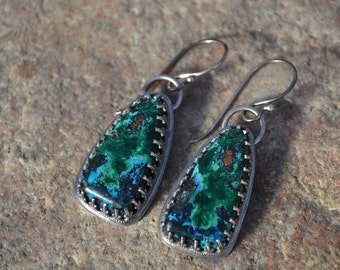 Azurite, Malachite and Sterling Silver Earrings, Handmade, USA stone