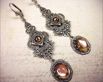 Victorian Earrings, Light Pink, Medieval, Renaissance Jewelry, Victorian Bridal Jewelry, Bridal Earrings, Marie Antoinette, Garb, Avalon