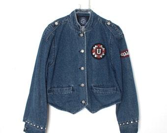 Vintage 90s GET USED Jeans Denim Jacket Sz L Cropped Military Majorette  Studded