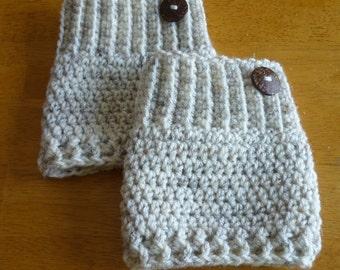 Crochet Boot Cuffs Button Accent Crochet Boot Topper Leg Warmer in Wheat - Ready to Ship  - Direct Checkout