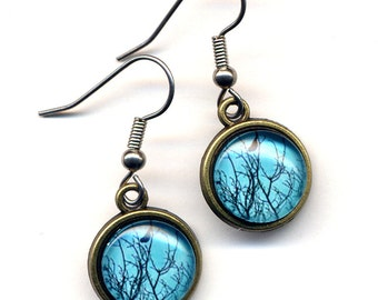 Bird Earrings , Surgical Steel Earrings, Teal Surgical Steel Birds Earrings, Turquoise trees and Bird Earrings, Woodland Earrings by Anna