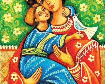Religious folk art icon, Virgin Mary Jesus child, Mother child, Christian art, beauty painting, mother son, feminine decor print 8x12+