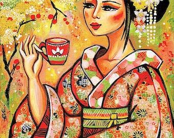 Geisha and Tea painting, Japanese woman, Garden Tea, wall decor, art, Asian art, poster woman wall print 8x11+