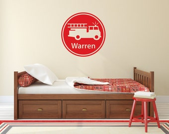 Firefighter wall decal, Personalized name wall decal, Fireman decor, Name stickers, Fireman decal, Fireman birthday, Firefighter decal DB143