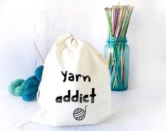 Project Bag for Crochet - Yarn Holder- Drawstring Bag- Yarn Storage-Travel Knitting Bag- Gifts for Knitters- Shawl Knitting- Sock Knitting