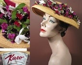 Vintage 1950s Straw Hat with Magenta and White Flowers