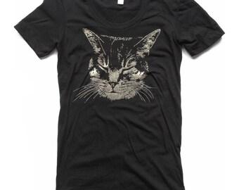 Women's Black Cat Shirt, Cat T-shirt, Kitty Shirt, Crazy Cat lady, cute cat shirt, sleeping kitty, Iridescent Glitter Sparkle Shirt, cat tee