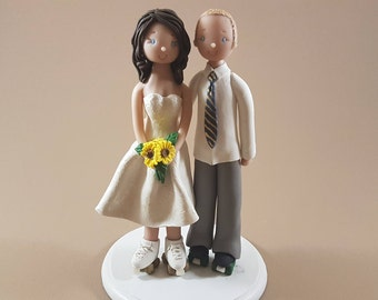 Bride & Groom on Roller Skates Personalized Wedding Cake Topper