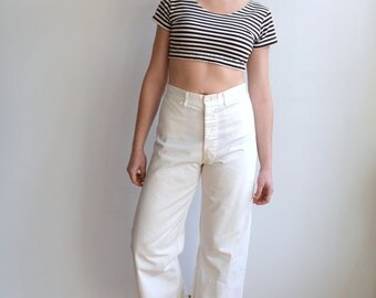 Vintage Navy Sailor Pants/ Cropped Wide Leg Navy Surplus Trousers/ Button Fly/ High Waist/ Size 31