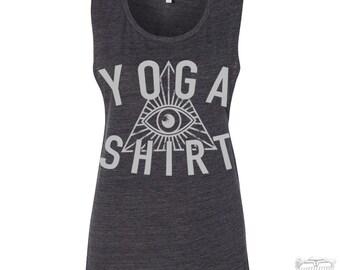 Womens YOGA Shirt Flowy Muscle Tee Tank size s m l xl xxl hand printed