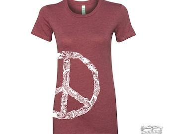 Womens Vintage PEACE t shirt -hand screen printed s m l xl xxl (+ Color Options)