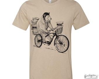 Men's BOOK BEAR t shirt  s m l xl xxl (+ Color Options) hand screen printed