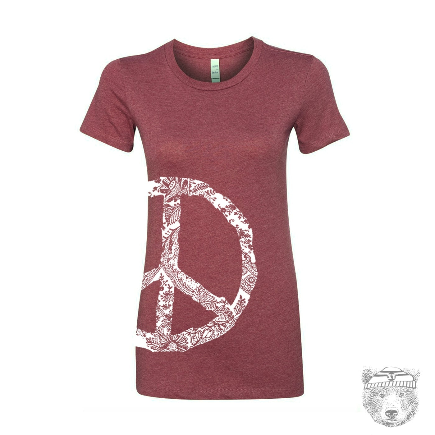 Womens vintage peace t shirt hand screen printed s m l xl xxl for Vintage screen print t shirts